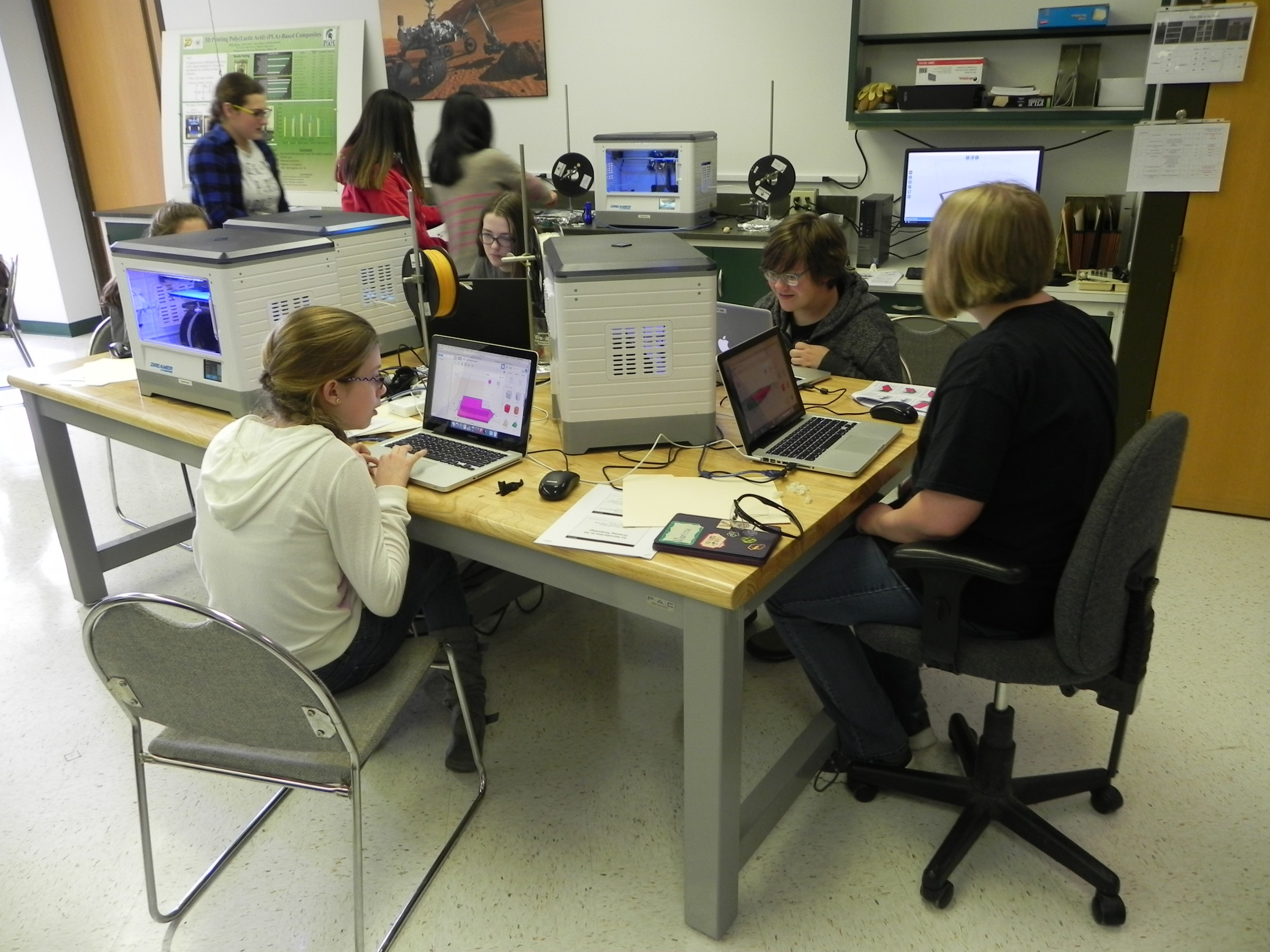 Group of students working in 3D printing lab