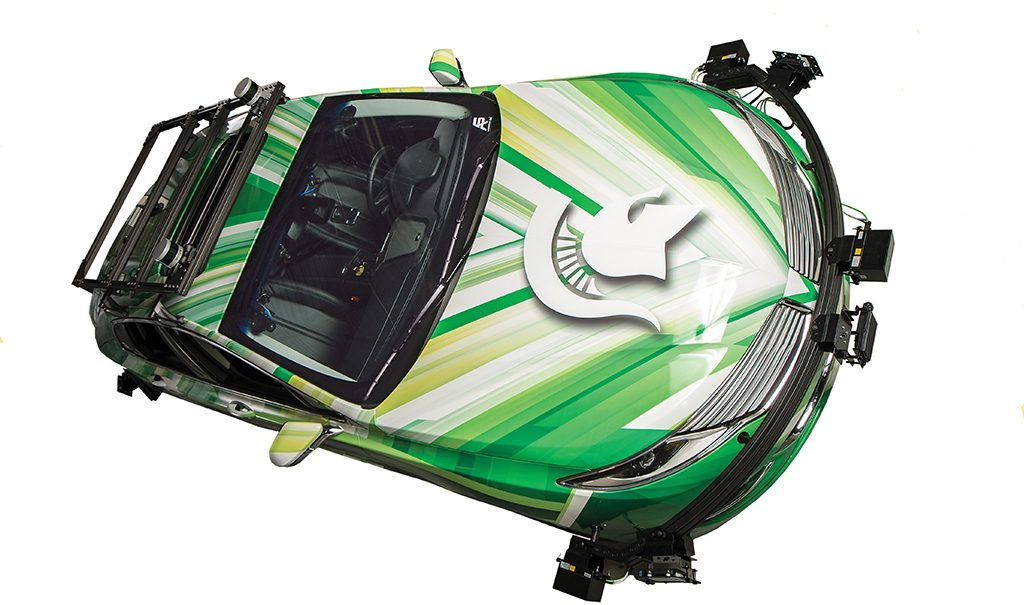 MSU autonomous vehicle, green and white with logo