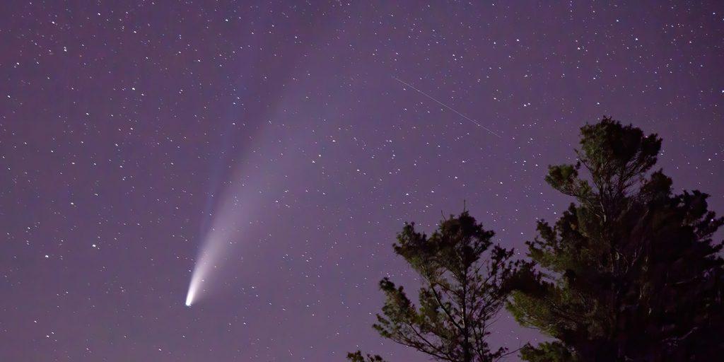 Image of comet NEOWISE over Lake Huron in Greenbush, Michigan
