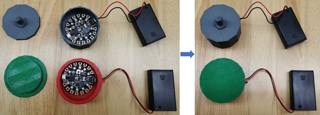 Student-designed 3D printed cases to hold their Circuit Playground Express microcontroller.