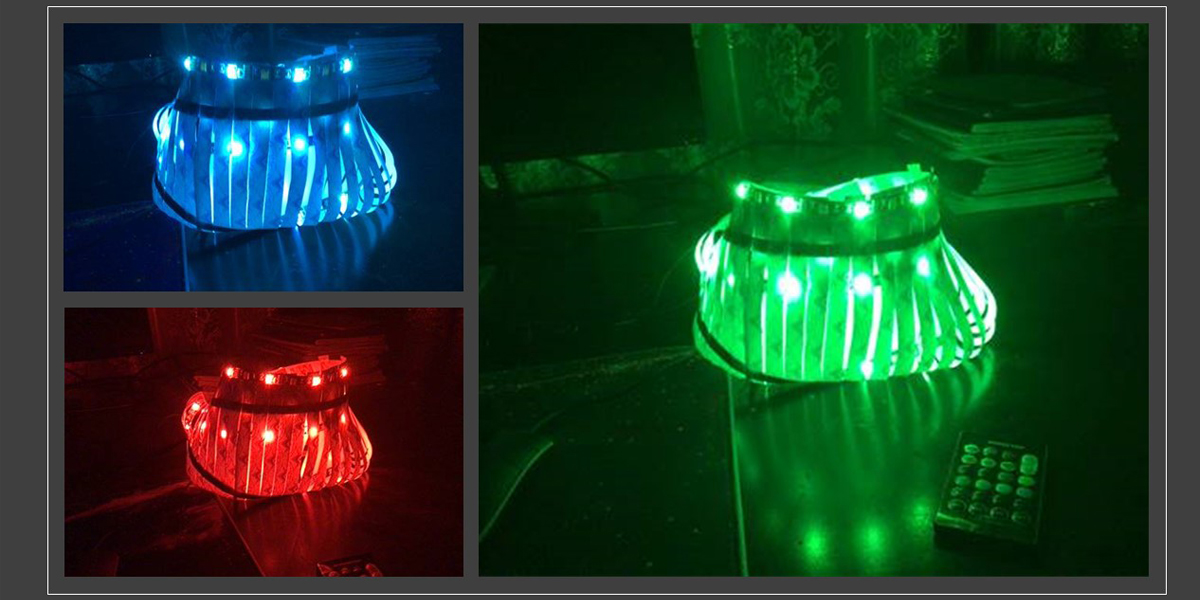 Images of student-deigned LED lights